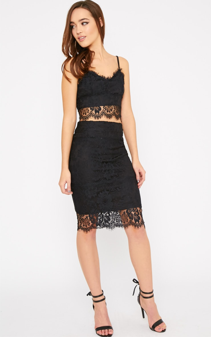 Ceri Black Lace Midi Skirt  1