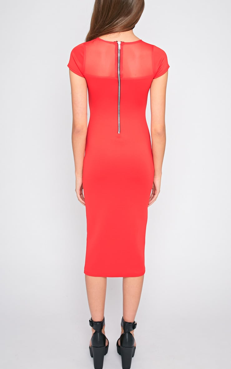Whitney Red Mesh Panel Midi Dress 2