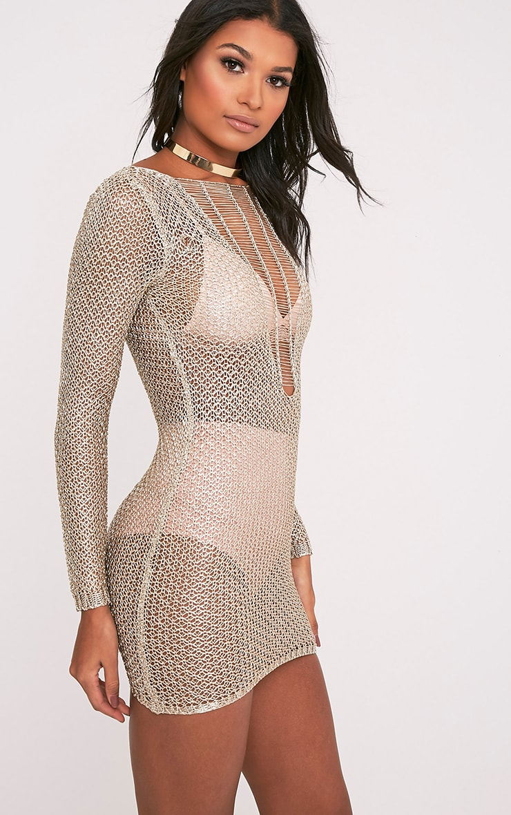Kay Petite Gold Metallic Knitted Mini Dress 4
