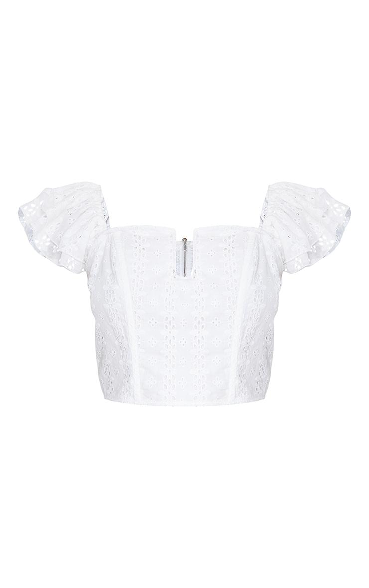 White Broderie Bardot Corset Detail Crop Top 5