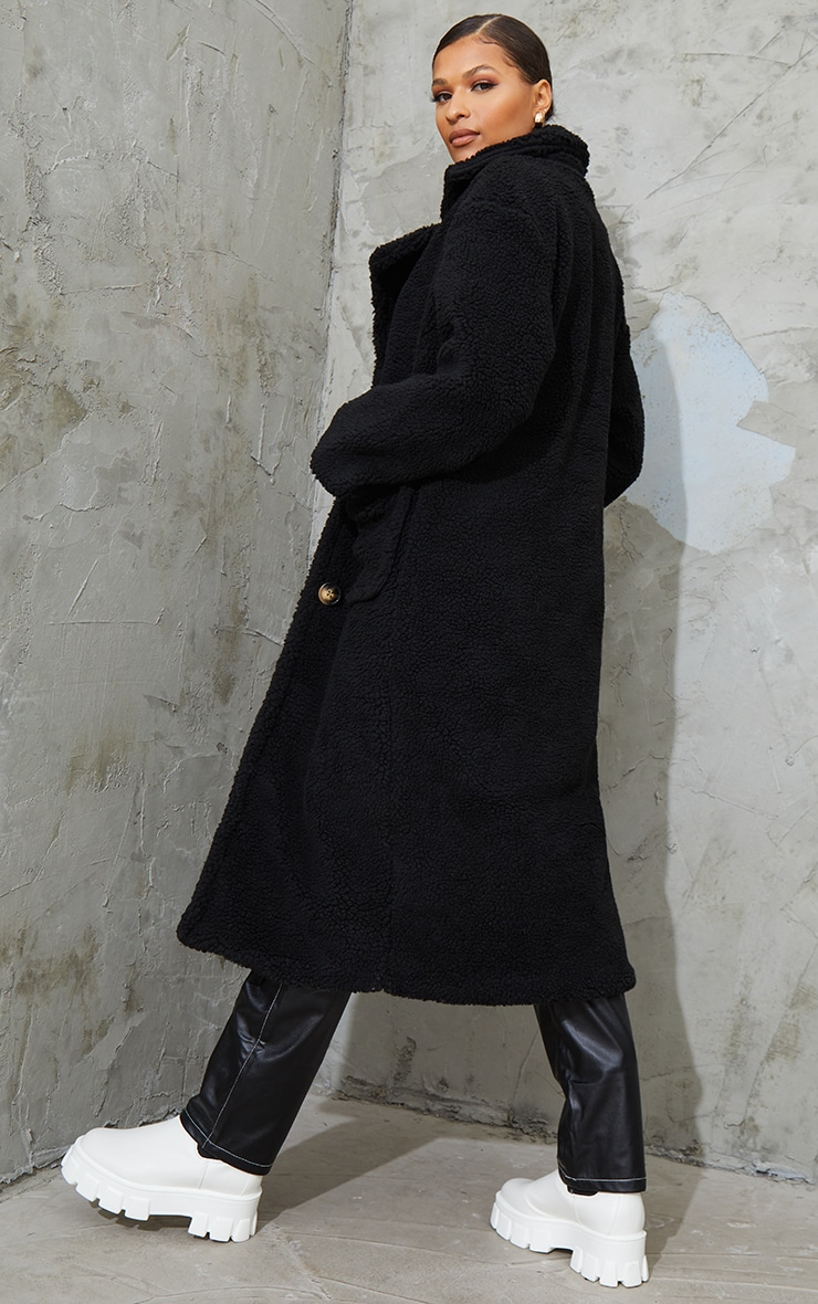 Black Maxi Borg Coat 2