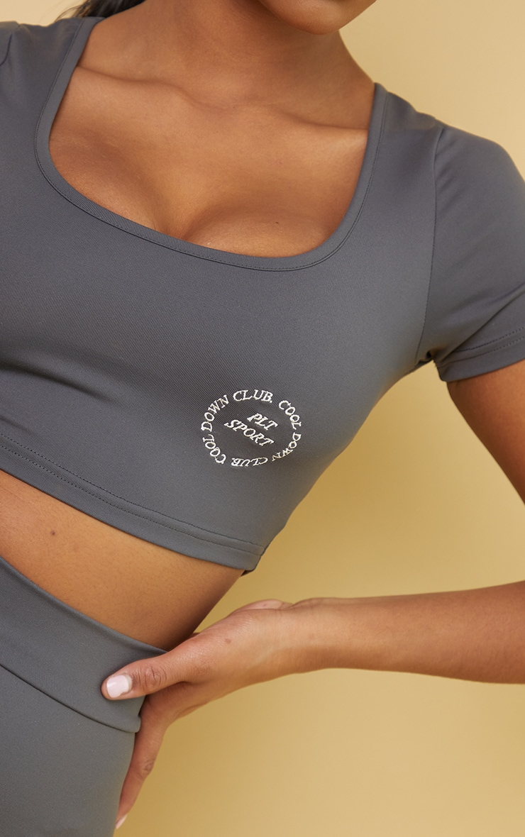 PRETTYLITTLETHING Charcoal Sport Cool Down Crop Tee 4