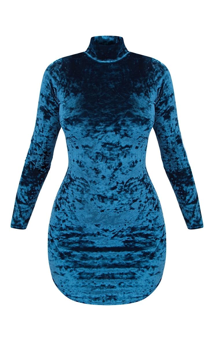 Teal Velvet High Neck Curved Hem Bodycon Dress 3
