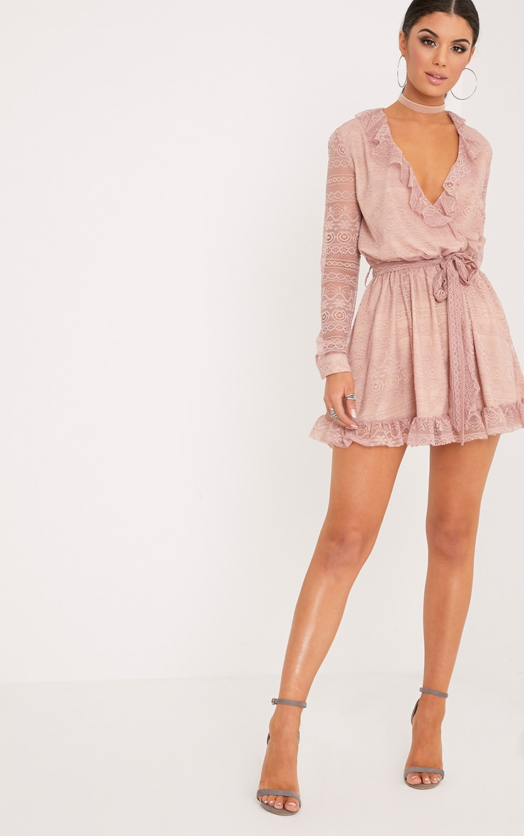 Kamini Dusty Pink Lace Frill Wrap Over Shift Dress  4