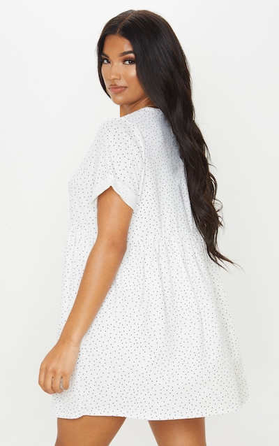 White Polka Dot Roll Sleeve Smock Dress