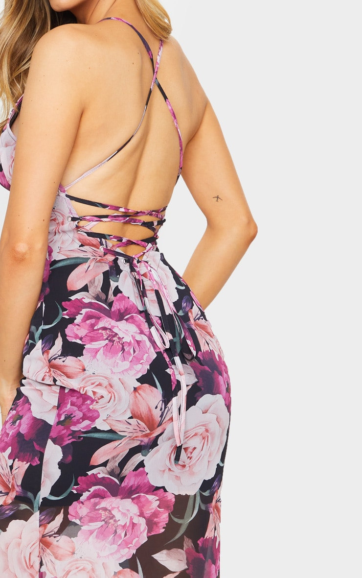Multi Floral Print Strappy Lace Up Back Maxi Dress 4
