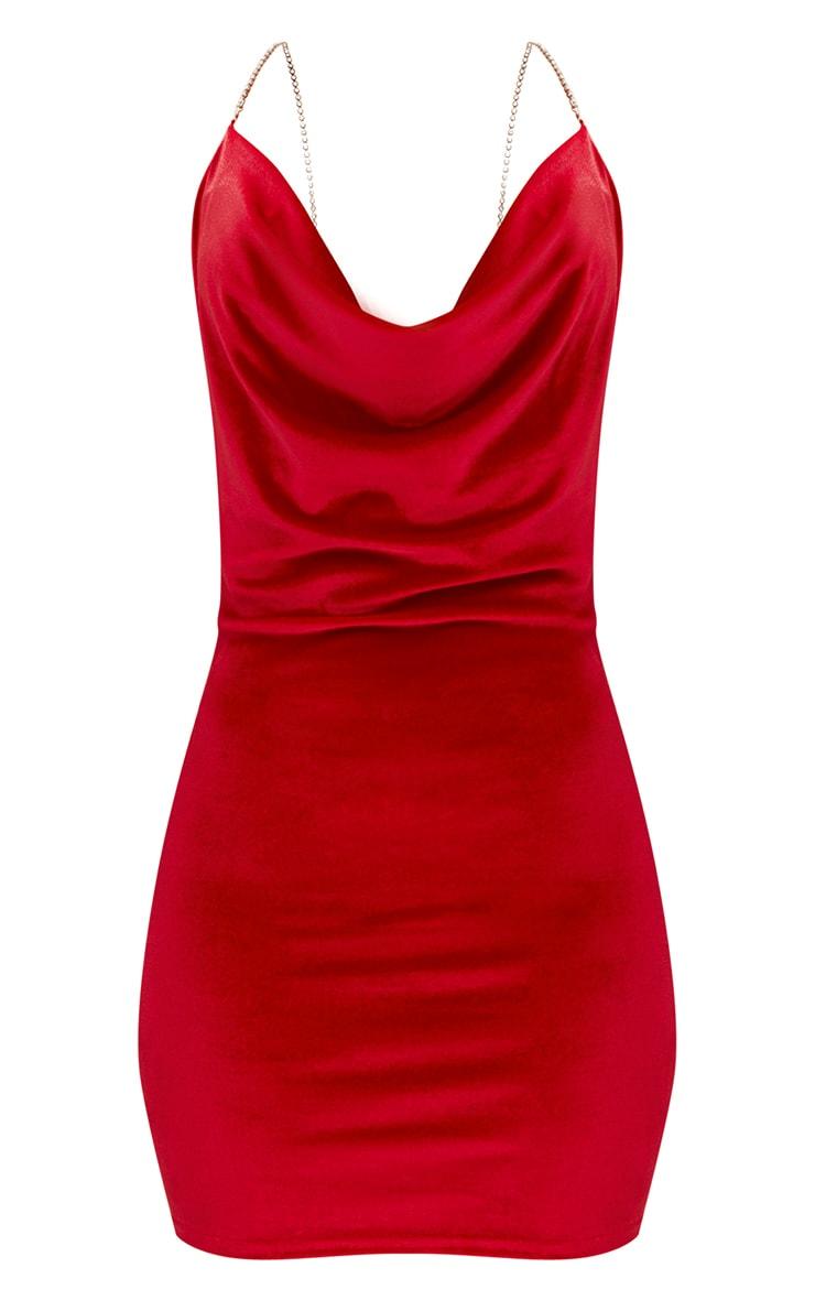 Red Velvet Cowl Neck Diamante Strap Bodycon Dress 3