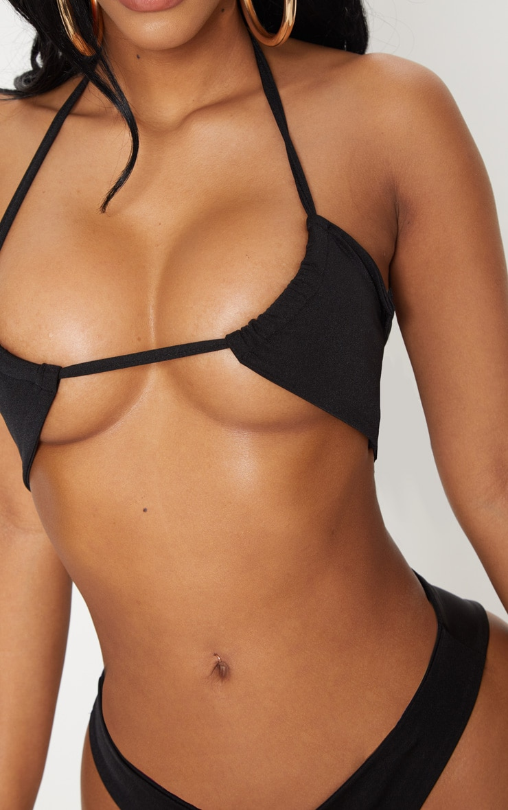 Shape Black Cut Out Tie Front Bikini Top 5