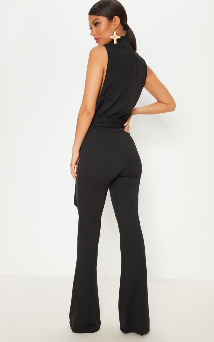 Black Scuba High Neck Tie Waist Jumpsuit 2