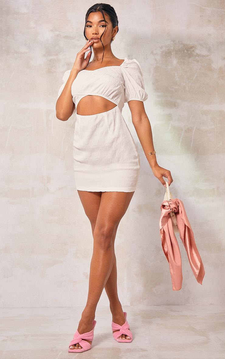 White Textured Linen Look Cut Out Puff Sleeve Shift Dress 3