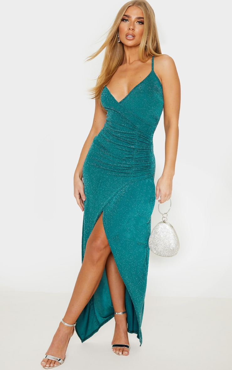 Emerald Green Strappy Textured Glitter Plunge Ruched Maxi Dress 1