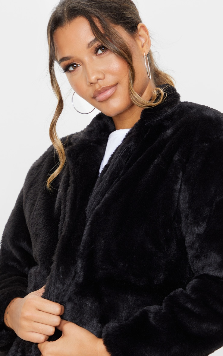 Black Longline Faux Fur Coat 5