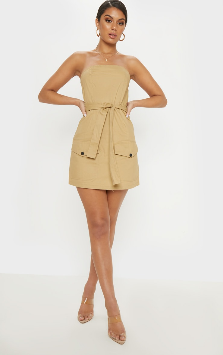 Camel Bandeau Cargo Pocket Detail Bodycon Dress  4