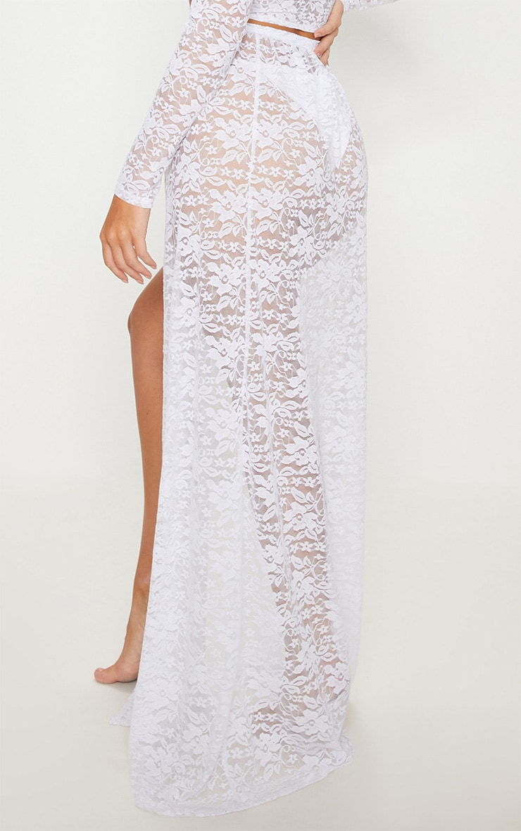 White Lace Tie Side Maxi Beach Skirt 4