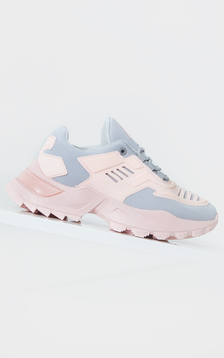 Pink Sports Panel Upper Cleated Chunky Trainers 3