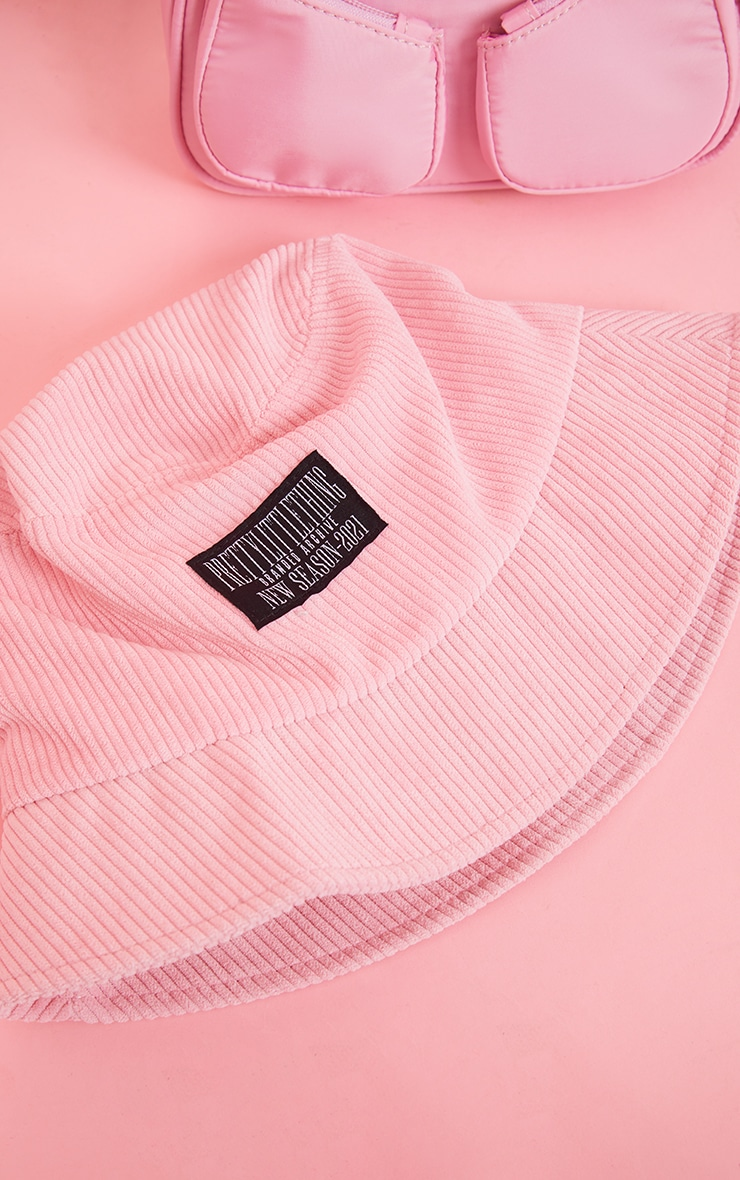 PRETTYLITTLETHING Pink Cord Bucket Hat 3