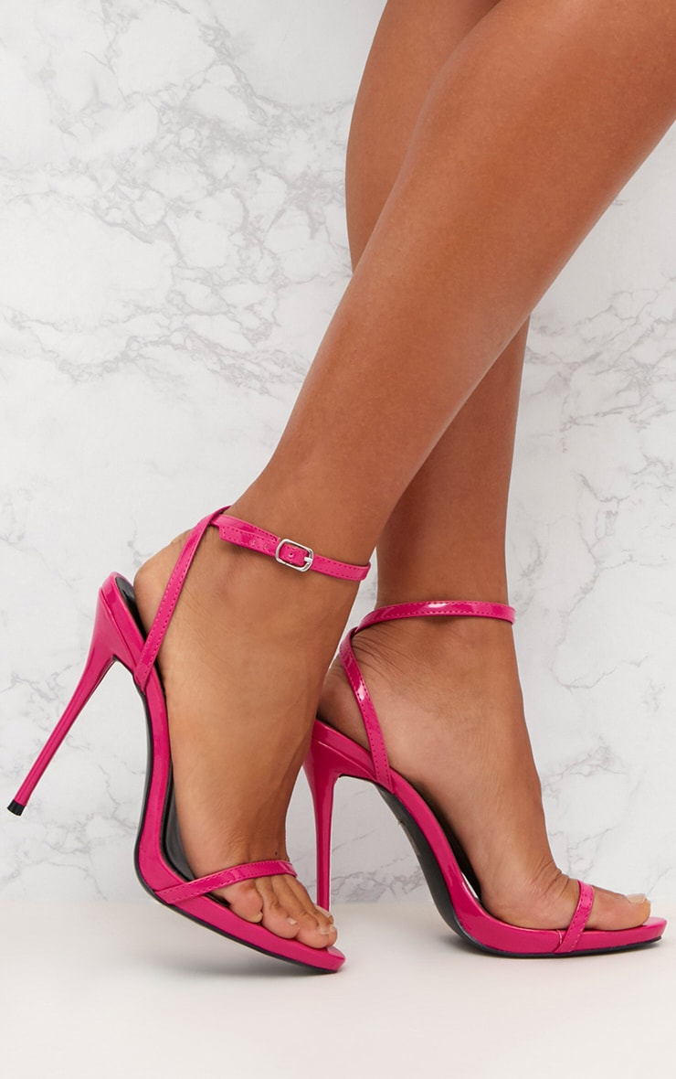 Fuchsia Patent PU Single Strap Stiletto Sandals 1