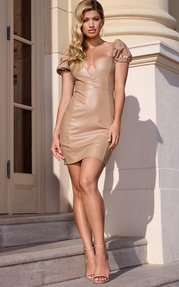 Taupe PU Puff Sleeve Bodycon Dress 3