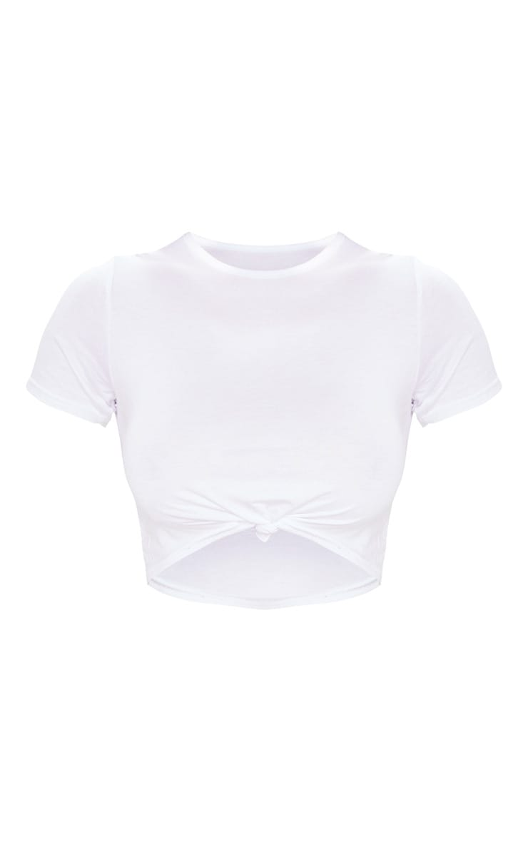 White Knot Front Cropped T Shirt 5