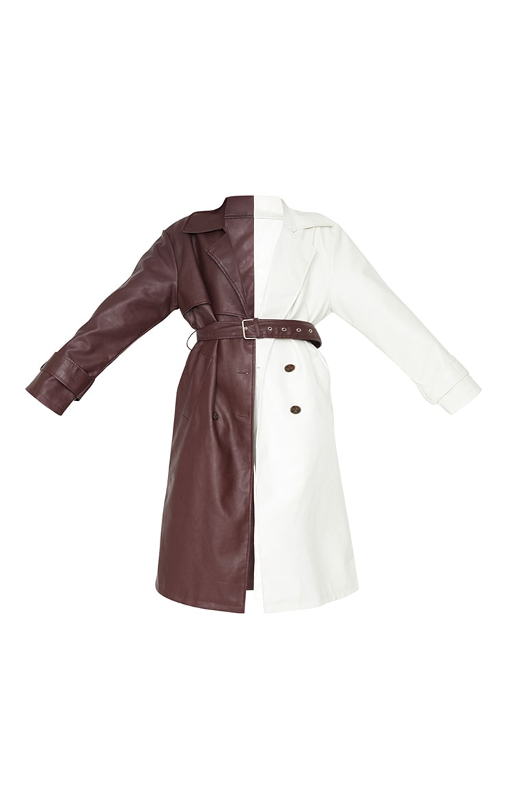 Chocolate Faux Leather Contrast Panel Front Trench 5