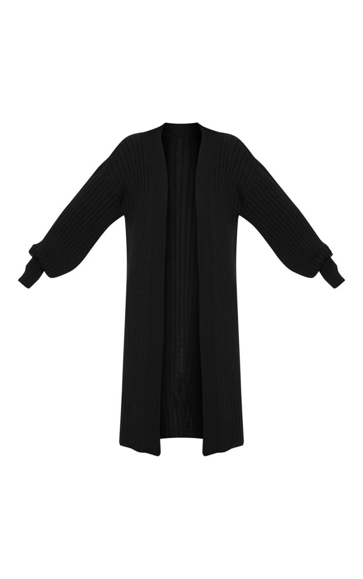 Black Ribbed Knitted Midi Cardigan 3