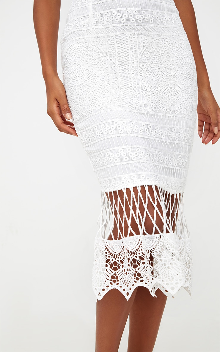 White Lace Bandeau Longline Midi Dress 5
