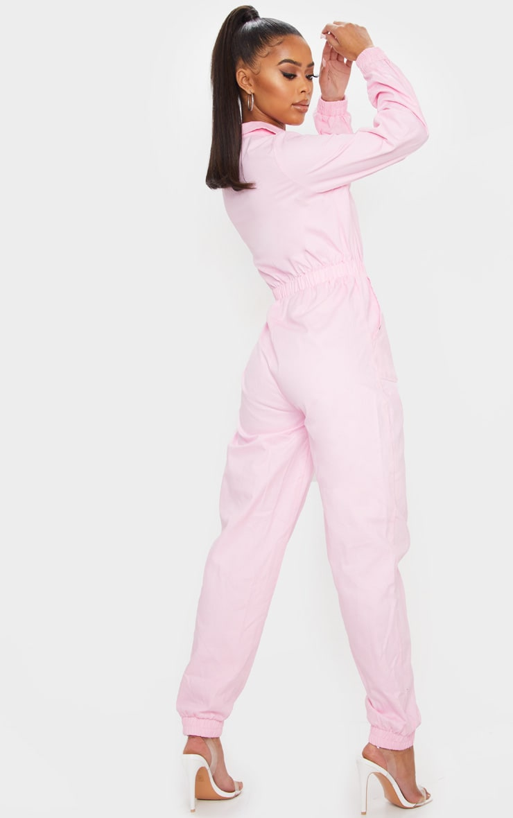 Baby Pink Utility Contrast Zip Jumpsuit 2