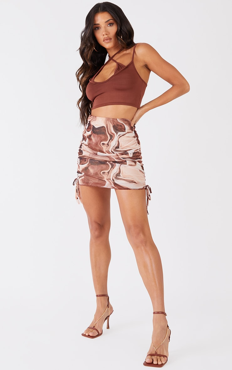 Brown Abstract Printed Mesh Ruched Side Mini Skirt 1