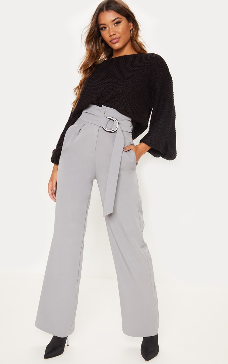 Silver Grey Belt Ring Detail Wide Leg Pants 1