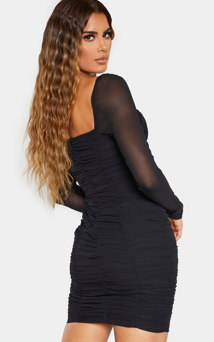 Tall Black Ruched Mini Dress 2