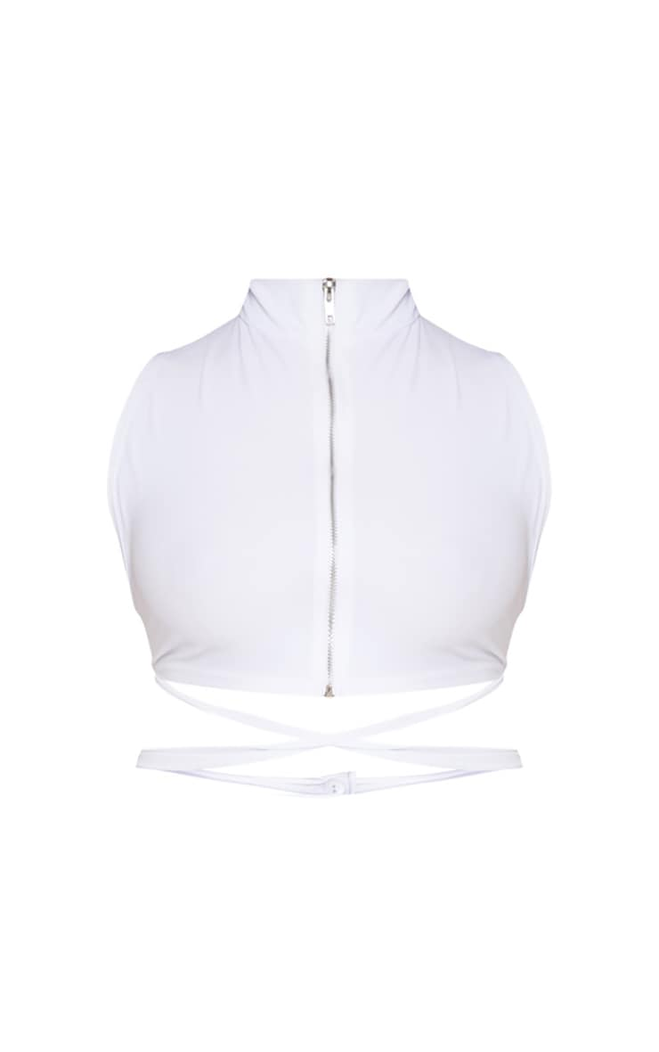 Plus White Zip Through Cross Waist Top 3