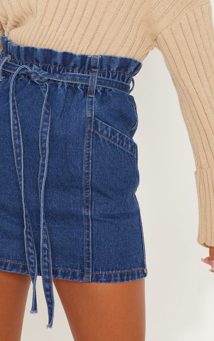 Mid Wash Paperbag Waist Denim Skirt 6