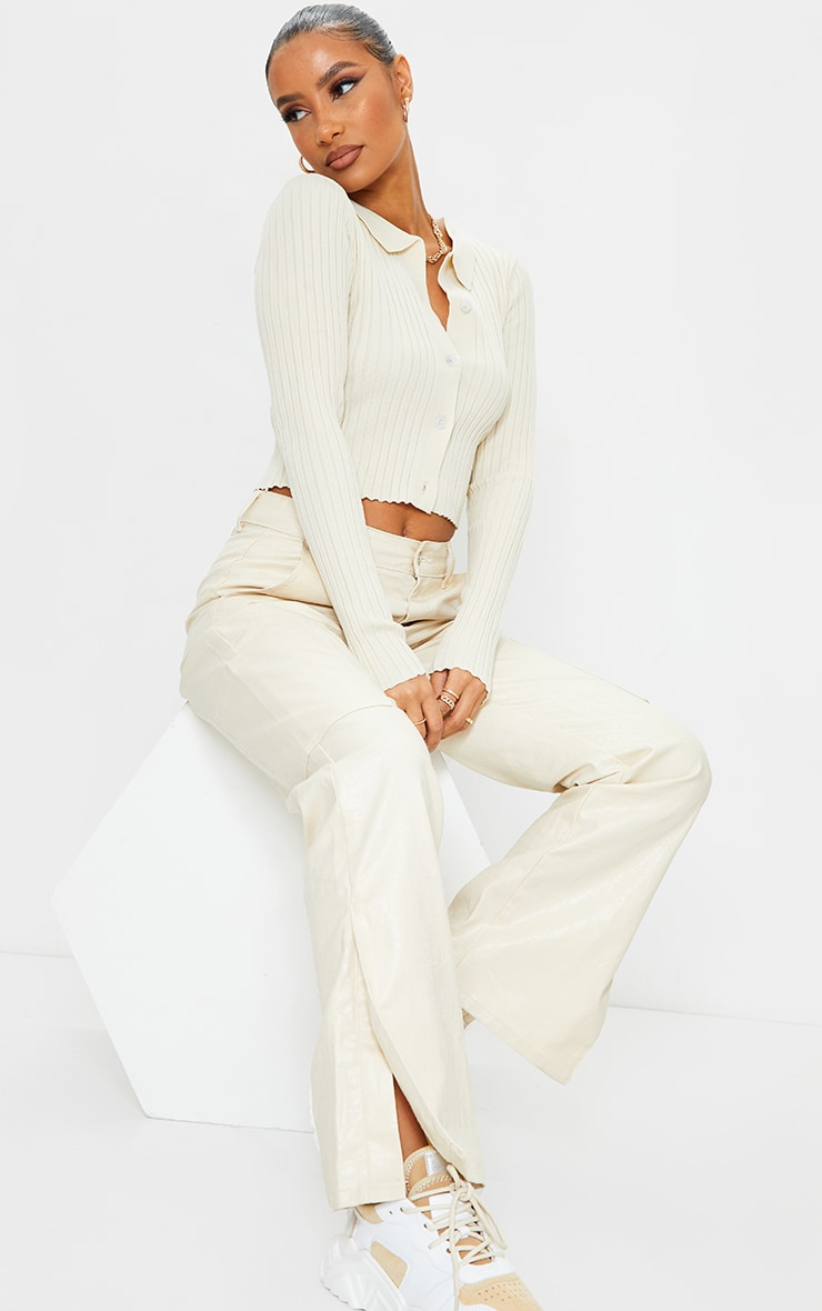 Cream Ribbed Collared Button Up Knitted Cardigan 3