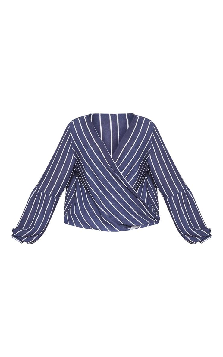 Plus Navy Striped Wrap Front Blouse  3
