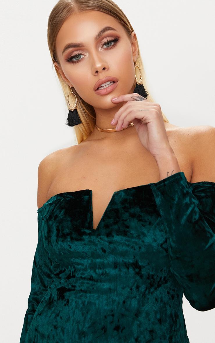 Emerald Green Velvet V Bar Bardot Bodycon Dress 5