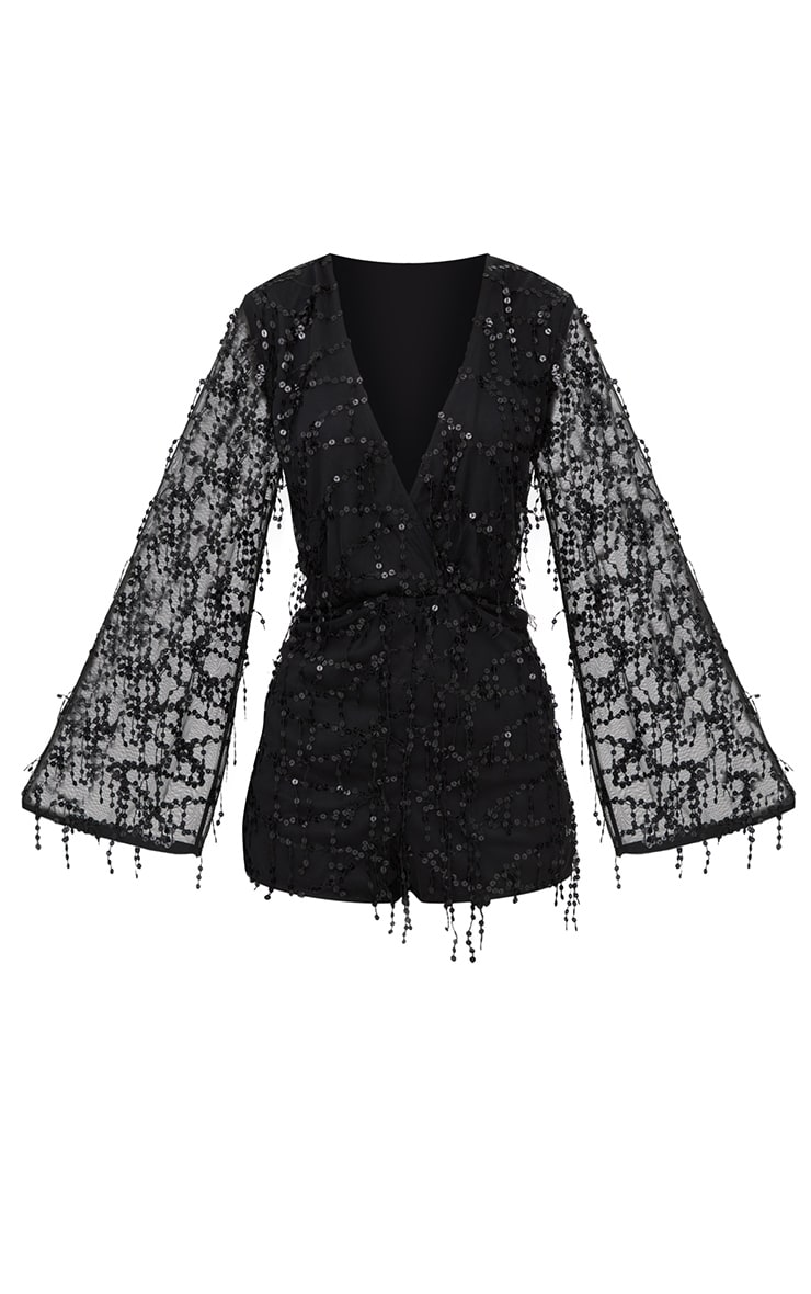 Black Sequin Wrap Front Playsuit 3