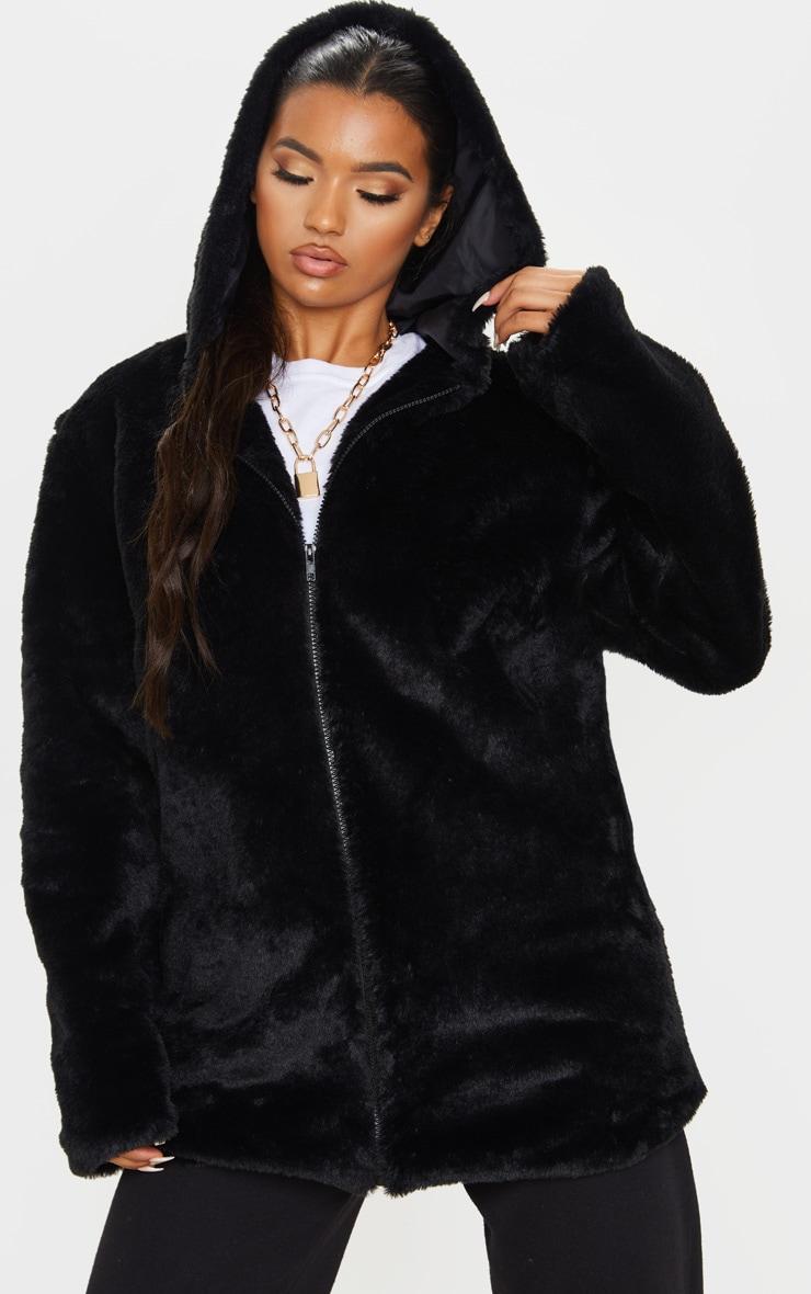 Black Hooded Faux Fur Midi Coat 1