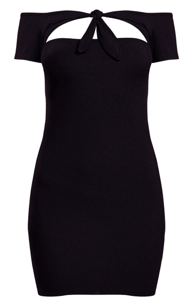 Black Bardot Tie Detail Ribbed Bodycon Dress 3