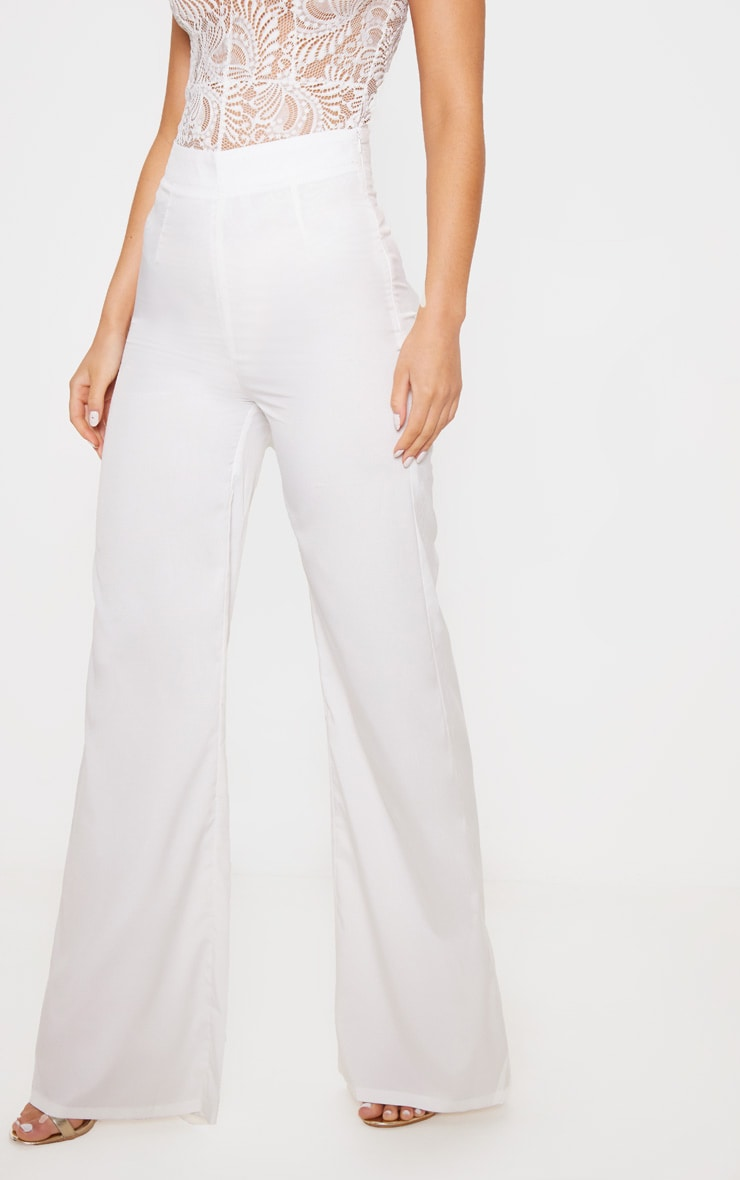 White Wide Leg Trousers 2