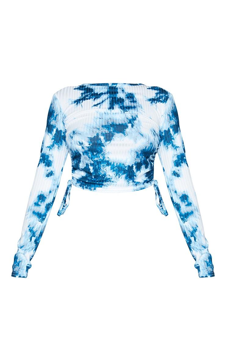 Blue Rib Tie Dye Printed Ruched Side Long Sleeve Crop Top 5