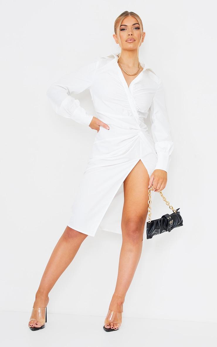 White Asymmetric Button Knot Detail Shirt Dress