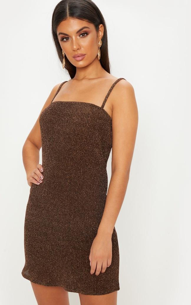 Gold Lurex Strappy Square Neck Shift Dress