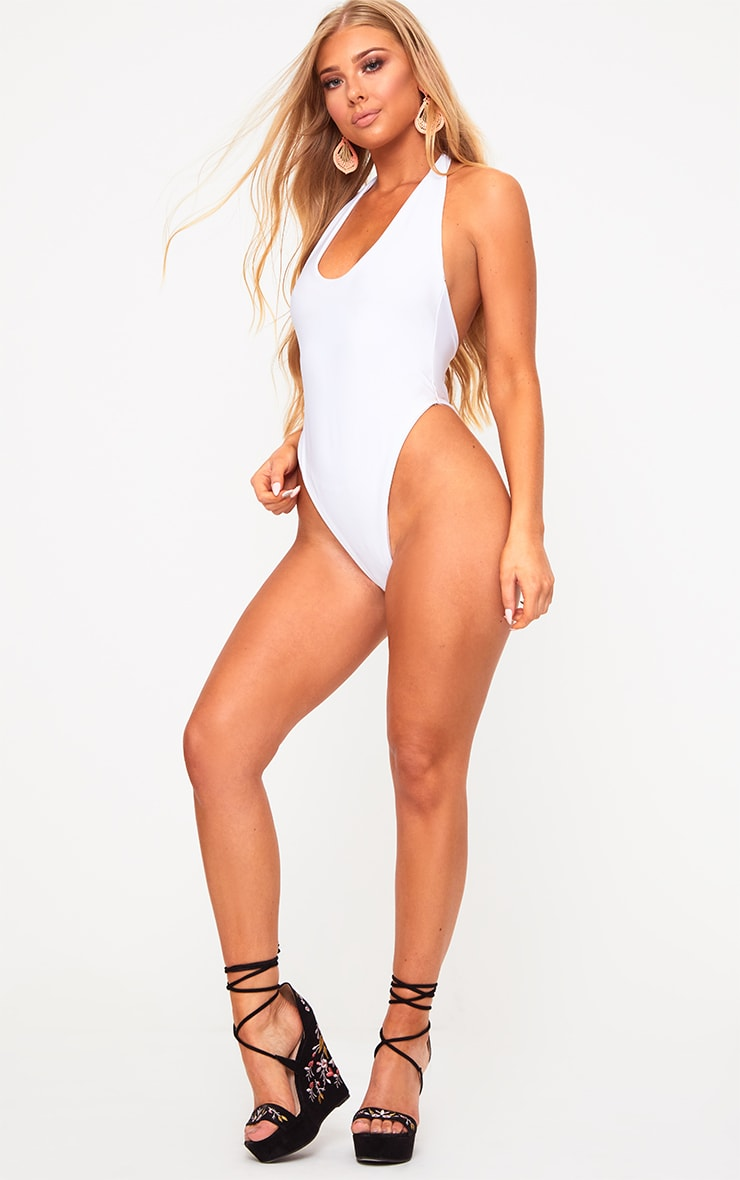 White High Leg Swimsuit 5