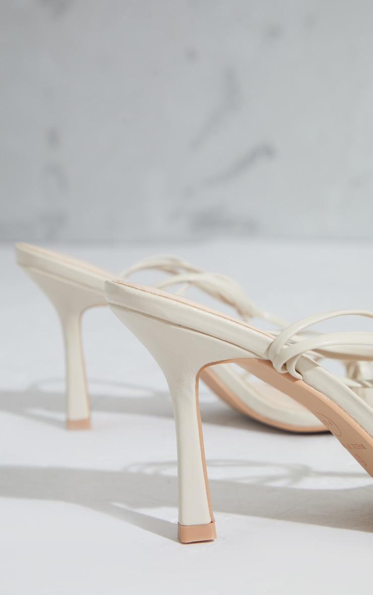 Cream Strappy Ankle Tie Heeled Sandals 3
