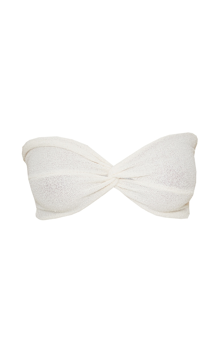 Cream Twist Front Towelling Knit Bandeau Top 5