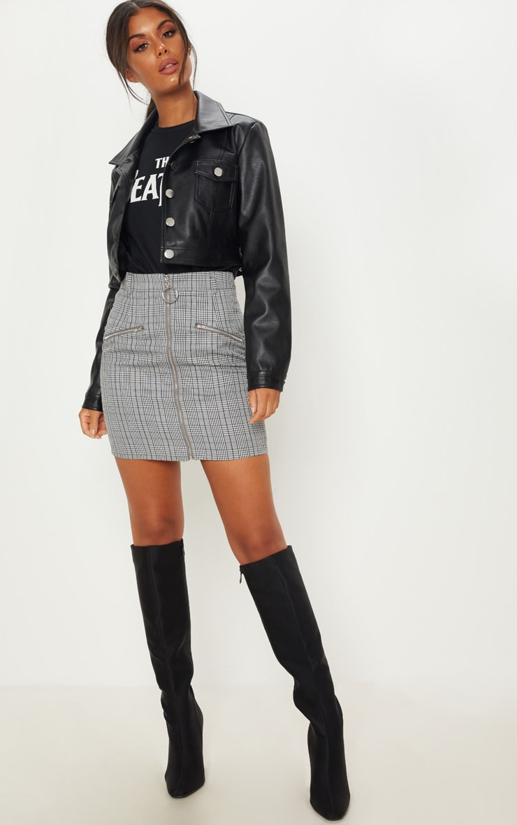 Monochrome Zip Front Check Mini Skirt 5