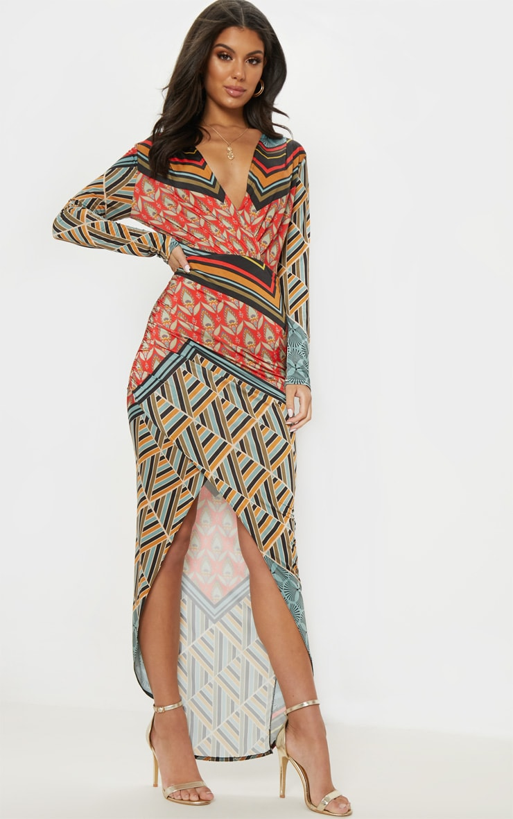 Multi Printed Plunge Wrap Front Maxi Dress 4