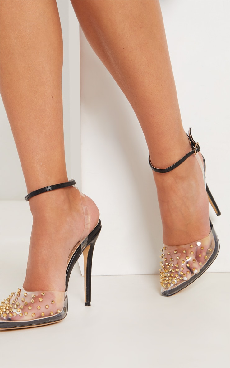 Black Studded Clear Court Shoes 2
