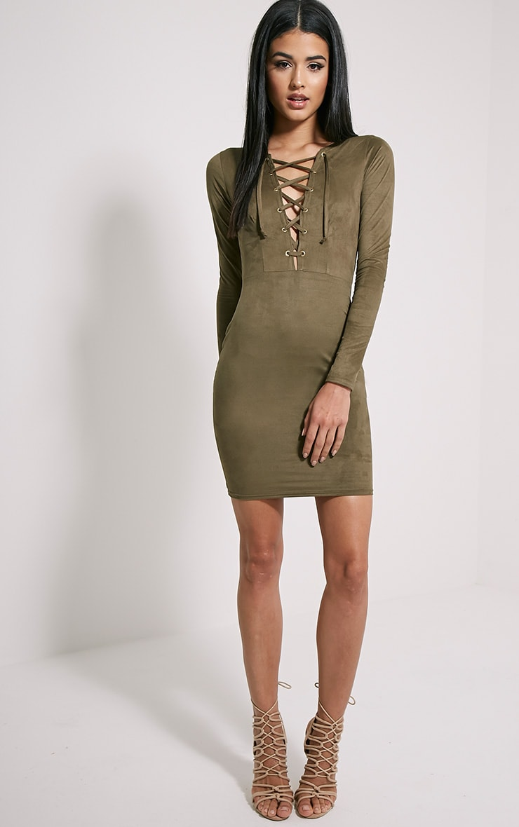 Solita Khaki Faux Suede Lace Up Mini Dress 3