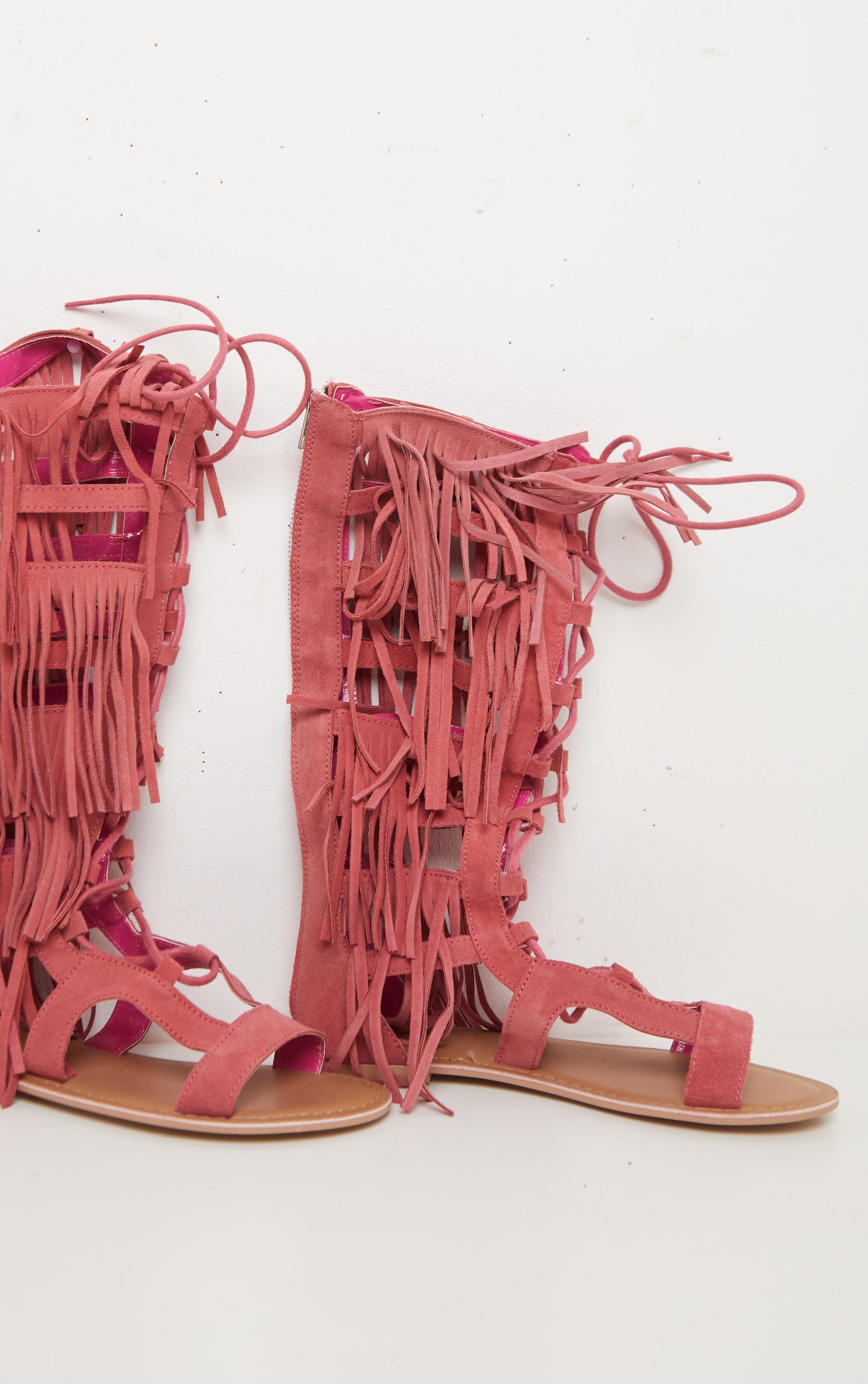 Baby Pink Fringe Lace Up Sandal 2